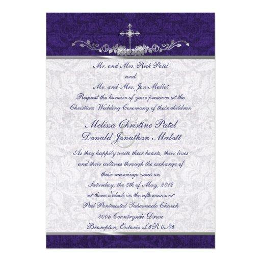 Damask Double Ceremony Wedding Invitation 13 Cm X 18 Cm Invitation Card