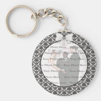 Damask Elegance Wedding Round Key Chain