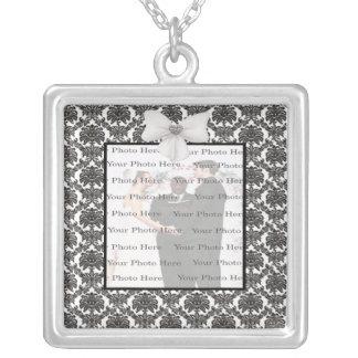 Damask Elegance Wedding  Silver Square Necklace