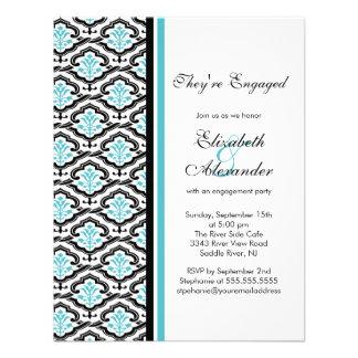 Damask Engagement Party Invitation turquoise blue
