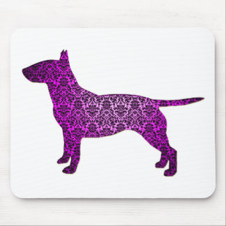Damask Fancy Bull Terrier Mouse Pad