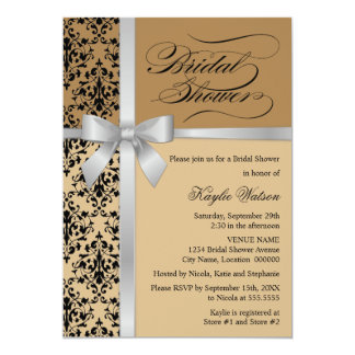 Damask Faux Silver Ribbon Autumn Bridal Shower 5x7 Paper Invitation Card