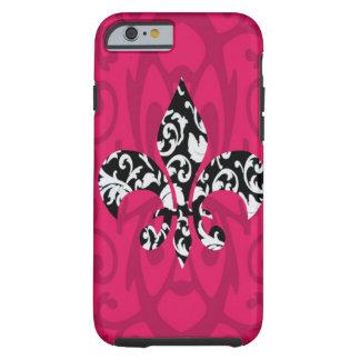 Damask Fleur de Lis with Pink Tough iPhone 6 Case