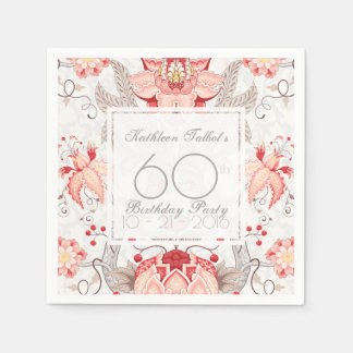 Damask Floral 60th Birthday Party Paper Napkin