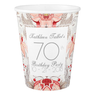 Damask Floral 70th Birthday Party Paper Cup