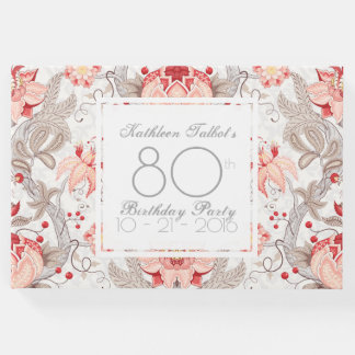 Damask Floral 80th Birthday Party Guest Book