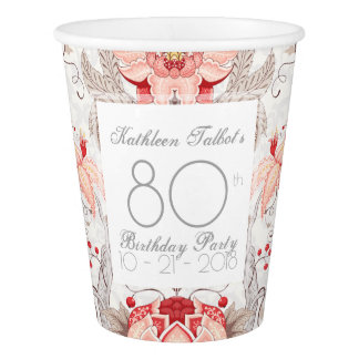 Damask Floral 80th Birthday Party Paper Cup