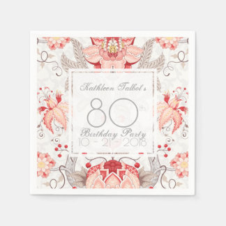 Damask Floral 80th Birthday Party Paper Napkin