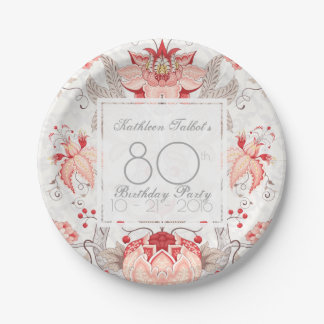 Damask Floral 80th Birthday Party Paper Plate
