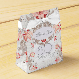 Damask Floral 80th Birthday Thank You Favor Box