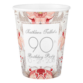 Damask Floral 90th Birthday Party Paper Cup