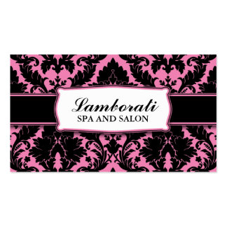 Damask Floral Elegant Modern Pink and Black Pack Of Standard Business Cards