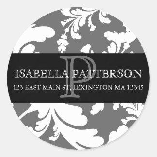 Damask Floral Monogram Circle Address Label