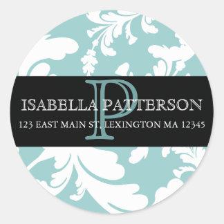Damask Floral Monogram Circle Address Label Sticker