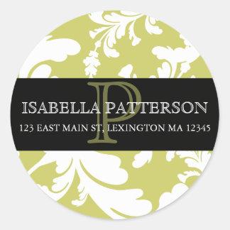 Damask Floral Monogram Circle Address Label Stickers