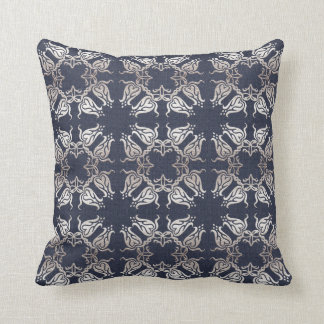 damask floral navy pattern cushion