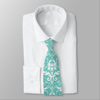 Damask Floral Pattern Any Custom Color (Mint) Tie