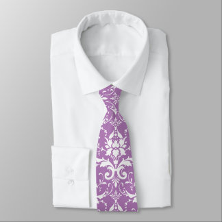 Damask Floral Pattern Any Custom Color (Purple) Tie