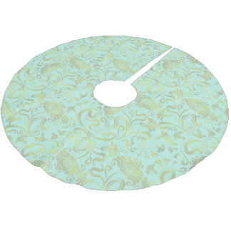 Damask Floral Shimmer Gold on Any Color ID461 Brushed Polyester Tree Skirt