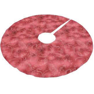 Damask Floral Shimmer Rose Red ID461 Brushed Polyester Tree Skirt