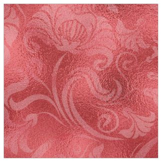 Damask Floral Shimmer Rose Red ID461 Fabric