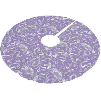 Damask Floral Shimmer Silver Any Background ID461 Brushed Polyester Tree Skirt