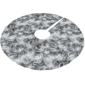 Damask Floral Shimmer Silver Gray ID461 Brushed Polyester Tree Skirt