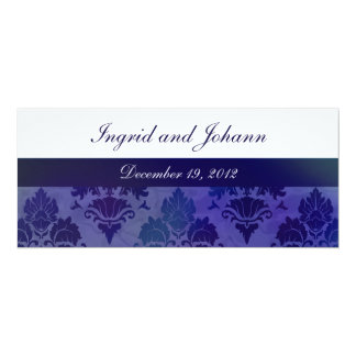 Damask Flourish Deep Blue Wedding or Save the Date 4x9.25 Paper Invitation Card
