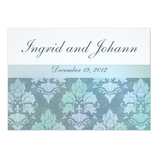 Damask Flourish Ice Blue Wedding Invitations