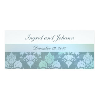 Damask Flourish Ice Blue Wedding or Save the Date Invite