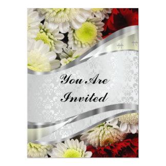 Damask & flowers 17 cm x 22 cm invitation card