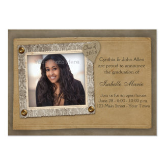 Damask Frame, Scrap Style Graduation Photo Card 13 Cm X 18 Cm Invitation Card