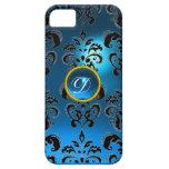 DAMASK GEM MONOGRAM blue iPhone 5 Cover
