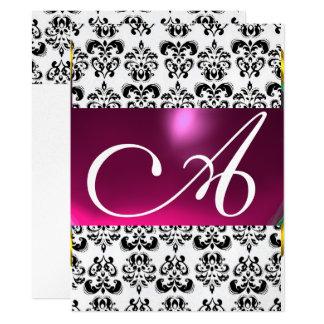 DAMASK GEM MONOGRAM purple pink black white silver 17 Cm X 22 Cm Invitation Card
