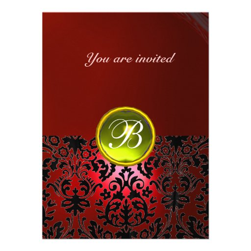 DAMASK GEM STONE MONOGRAM red yellow Personalized Invite