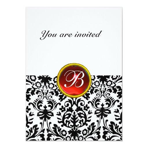 DAMASK GEM STONE MONOGRAM ruby red white rsvp 11 Cm X 16 Cm Invitation Card