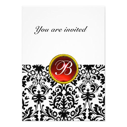 DAMASK GEM STONE MONOGRAM ruby red white rsvp Personalized Invitation