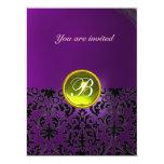 DAMASK GEM STONE MONOGRAM  yellow purple 17 Cm X 22 Cm Invitation Card