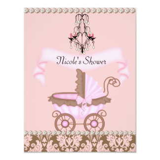DAMASK GIRL BABY Shower INVITATIONS