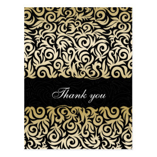damask gold chic  Thank You cards Postcard