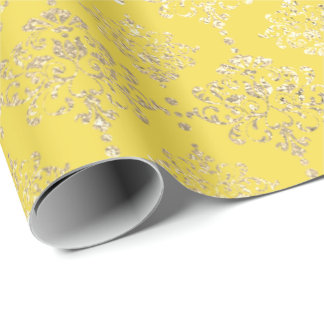 Damask Gold Faux Royal Metallic Pantone Yellow Wrapping Paper