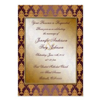 Damask Gold on Burgundy 13 Cm X 18 Cm Invitation Card
