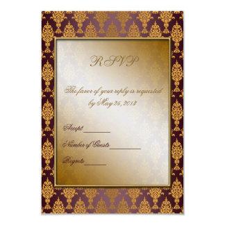 Damask Gold on Burgundy 9 Cm X 13 Cm Invitation Card