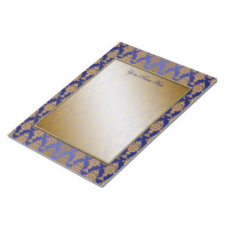 Damask Gold on Royal Blue Borders Notepad