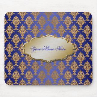 Damask Gold on Royal Blue Mouse Pad
