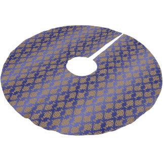 Damask Gold on Royal Blue Ombre Brushed Polyester Tree Skirt