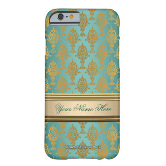 Damask Gold on Teal Green Barely There iPhone 6 Case