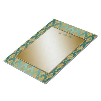 Damask Gold on Teal Green Borders Notepad