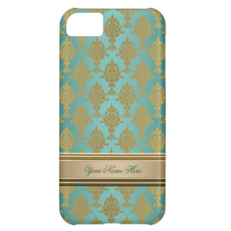 Damask Gold on Teal Green iPhone 5C Case
