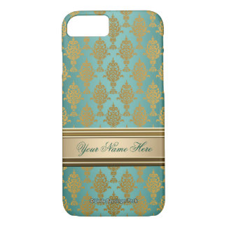 Damask Gold on Teal Green iPhone 7 Case